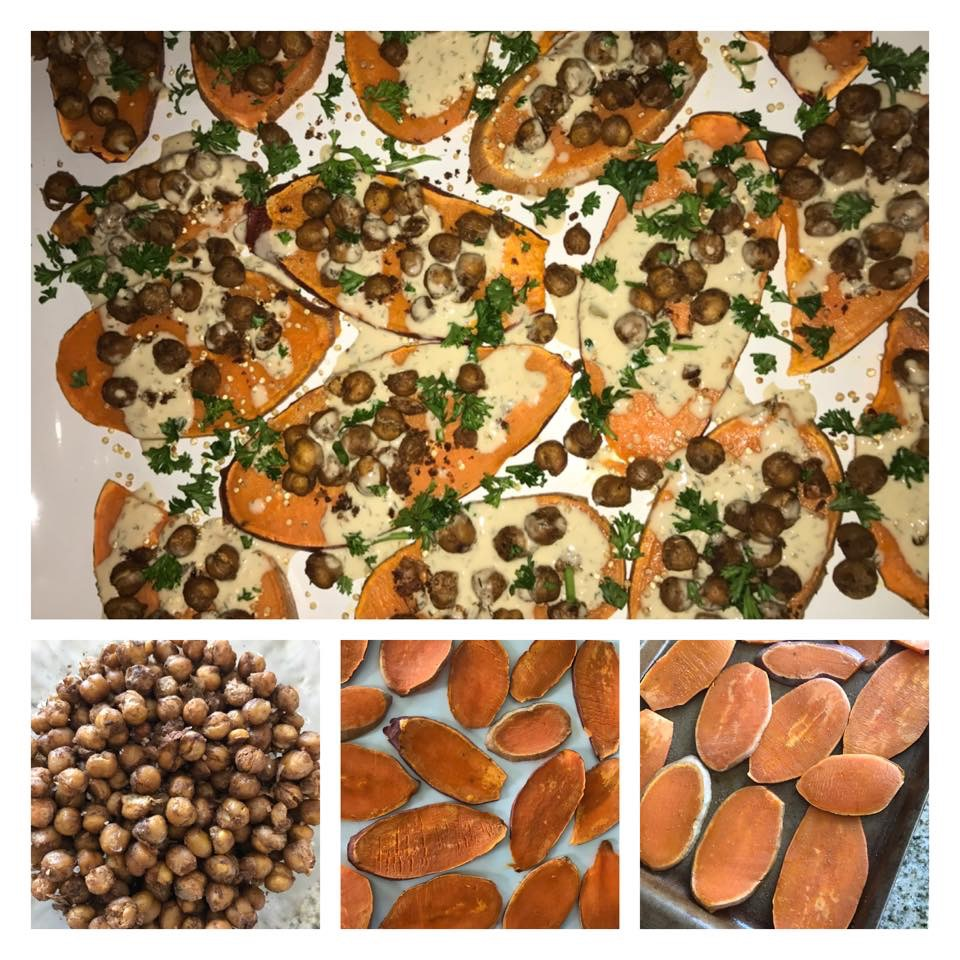 Baked Mediterranean Chickpeas. Snack on them or top them on sliced sweet potatoes
